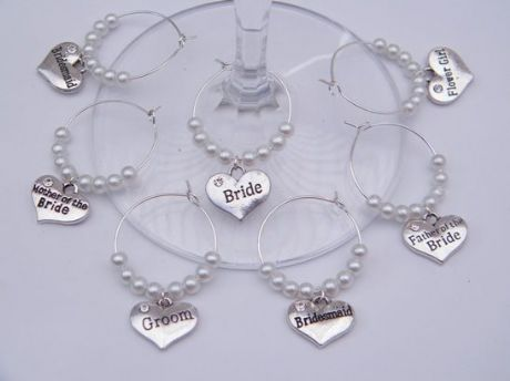 Wedding Wine Glass Charms - Beaded Style